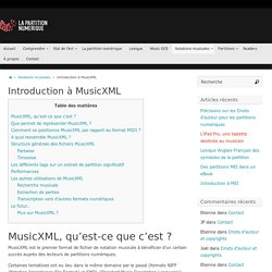 Introduction à MusicXML – La partition numérique