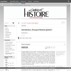 Introduction: Pourquoi l'histoire globale?