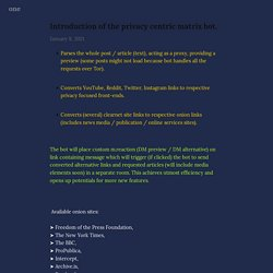 Introduction of the privacy centric matrix bot. — one
