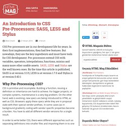 An Introduction to CSS Pre-Processors: SASS, LESS and Stylus