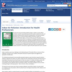 Indoor Air Pollution: Introduction for Health Professionals
