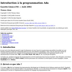 Introduction à la programmation Ada