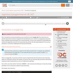 Introduction au langage SQL - Apprenez à programmer en VB .NET