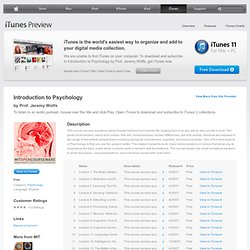 Introduction to Psychology - Download free content from MIT on iTunes