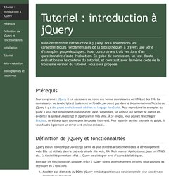 Introduction à jQuery : construction d'un questionnaire d'auto-évaluation
