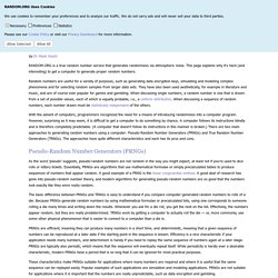 Introduction to Randomness and Random Numbers