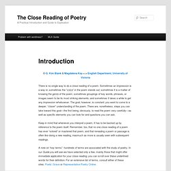 The Close Reading of Poetry