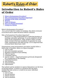 Introduction to Robert's Rules of Order