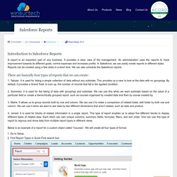 Introduction To Salesforce Reports - Winsurtech Blog