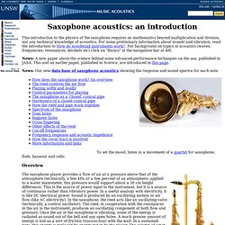 Introduction to saxophone acoustics