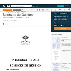 Introduction Aux Sciences de Gestion