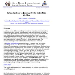 How to Write Guide: Introduction to Journal-Style Scientific Writing