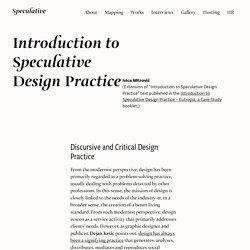 Introduction to Speculative Design Practice – Speculative