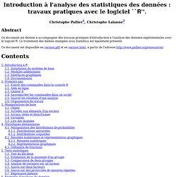 Introduction à l'analyse des statistiques des données : travaux pratiques avec le logiciel ``\textsf{R}''.