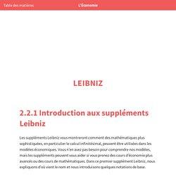 L'Économie: Introduction aux suppléments Leibniz