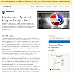 Introduction to Systematic Program Design - Part 1 - The University of British Columbia