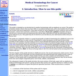 Introduction / How to use this guide: Medical Terminology for Cancer