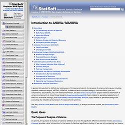Introduction to ANOVA / MANOVA