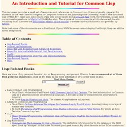An Introduction and Tutorial for Common Lisp