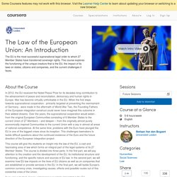 The Law of the European Union: An Introduction - Universiteit Leiden