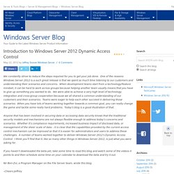 Introduction to Windows Server 2012 Dynamic Access Control