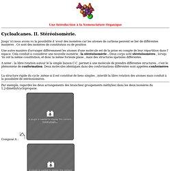 Cycloalcanes II : Stéréoisomèrie