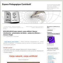 BTS 2018-2019 Corps naturel, corps artificiel. Séance introductive : présentation du thème – pistes de réflexion – travaux dirigés