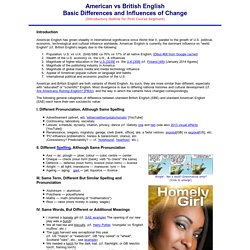 ENGP8 Introductory Outline, Basic US-GB Differences