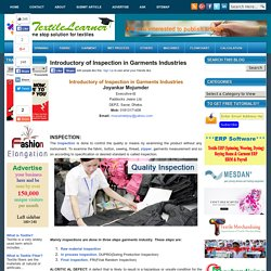 Introductory of Inspection in Garments Industries - Textile Learner