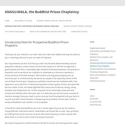 Introductory Note for Prospective Buddhist Prison Chaplains