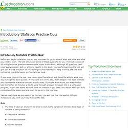 Introductory Statistics Practice Quiz