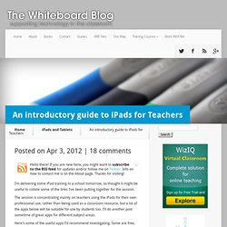 An introductory guide to iPads for Teachers