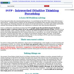INTP - Introverted iNtuitive Thinking Perceiving