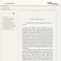 «IV. L'intuition philosophique» — La pensée et le mouvant