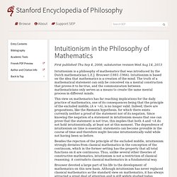 Intuitionism in the Philosophy of Mathematics