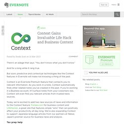 Context Gains Invaluable Life Hack and Business Content