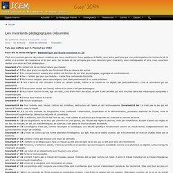Les invariants pédagogiques (résumés)