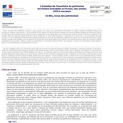 In Situ - N° - L'évolution de l'inventaire du patrimoine ferroviaire immobilier en France, des années 1970 à nos jours