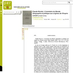 Compte rendu: Claude Nicolet, L'inventaire du Monde. Géographie et politique aux origines de l'Empire romain