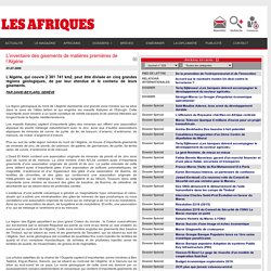 L'inventaire des gisements de matières premières de l'Algérie