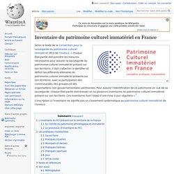Inventaire du patrimoine culturel immatériel en France