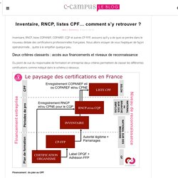 Inventaire, RNCP, listes CPF... comment s'y retrouver ?