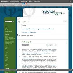 Inventaire des revues où publient les sociologues