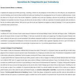 Syllabus : Invention de l'iimprimerie par Gutenberg