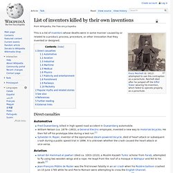 List of inventors killed by their own inventions
