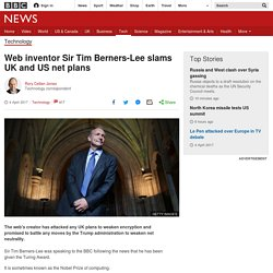 Web inventor Sir Tim Berners-Lee slams UK and US net plans