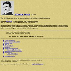 Nikola Tesla: inventor, engineer, scientist