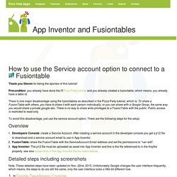 App Inventor Tutorials and Examples: Service account
