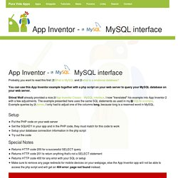 App Inventor Tutorials and Examples: MySQL