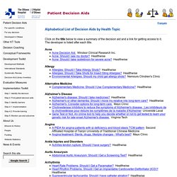 A to Z Inventory -Patient Decision Aids - Ottawa Hospital Research Institute